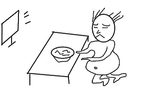 1人で寂しくご飯をたべる独身の人