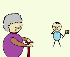 お婆ちゃんと子供